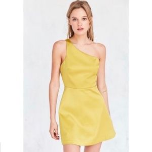 UO Silence + Noise One Shoulder Maize Skater Dress